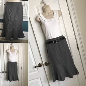 Small Grey & Silver Pinstripe Trumpet Skirt